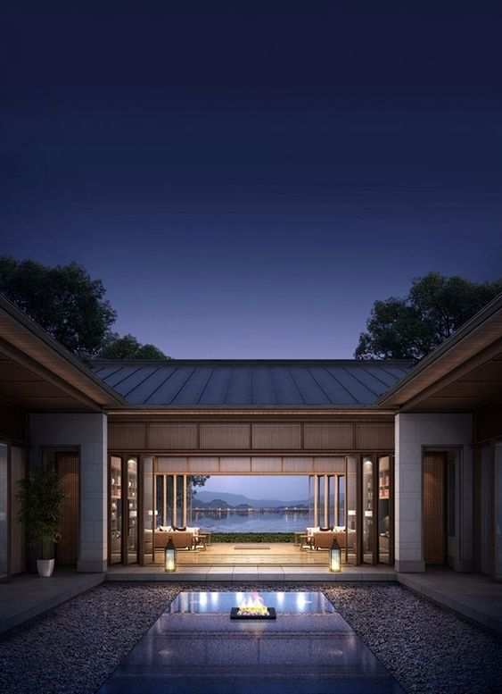 patio exterior de noche con vistas