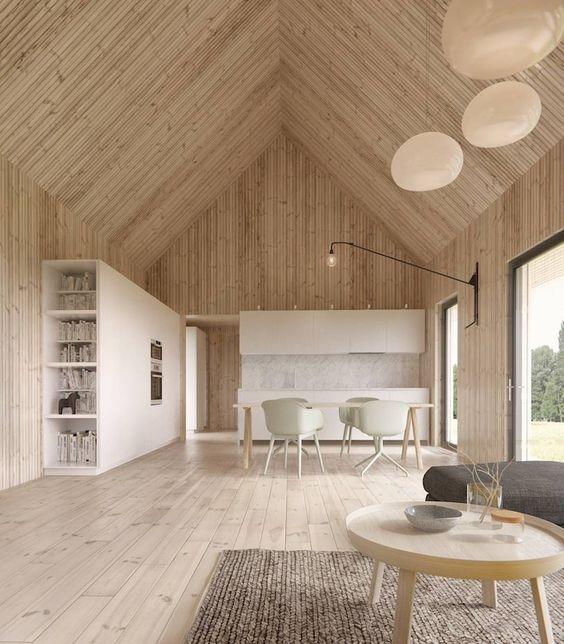 casa de madera con mesita